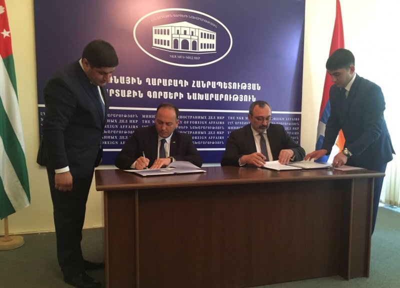 The Ministry of Foreign Affairs of Abkhazia and the Ministry of Foreign Affairs of Republic of Artsakh signed the Memorandum of Understanding between the Ministries of Foreign Affairs of two countries.